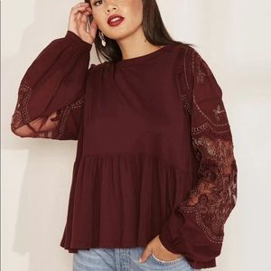 Free People wine embroidered top xs